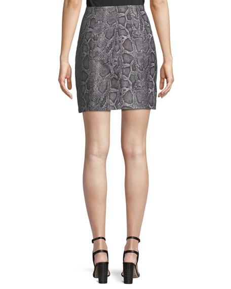 Snake-Print Leather Zip-Front Short Skirt