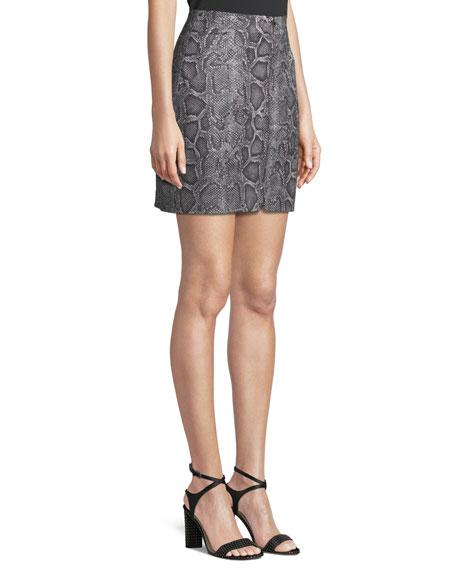 Snake-Print Leather Zip-Front Short Skirt