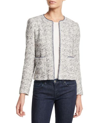Speckled Hook-Front Tweed Jacket