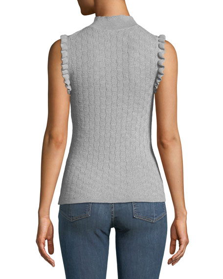 Sleeveless Ruffle Merino Wool Turtleneck Sweater