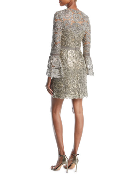 Somerset Sequin Lace Dress w/ Bell Sleeves & Embroidery