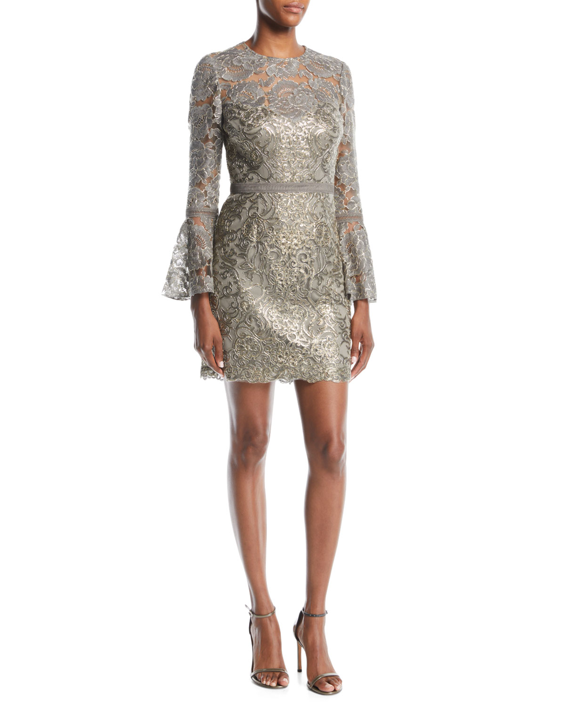 Tadashi Shoji Somerset Sequin Lace Dress w/ Bell Sleeves ...