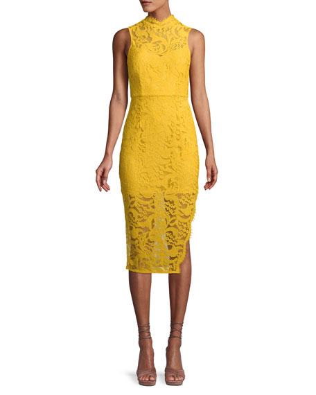 AIJEK Melanie Sleeveless Dress In Lace in Yellow