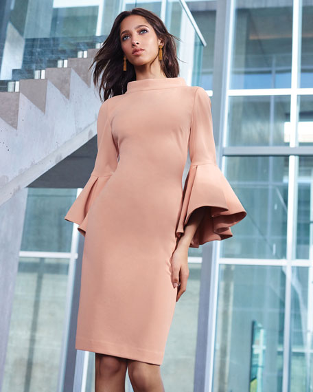 Bell-Sleeve Faille Cocktail Dress