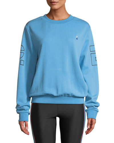 Moneyball Crewneck Drop-Shoulder Pullover Cotton Sweatshirt