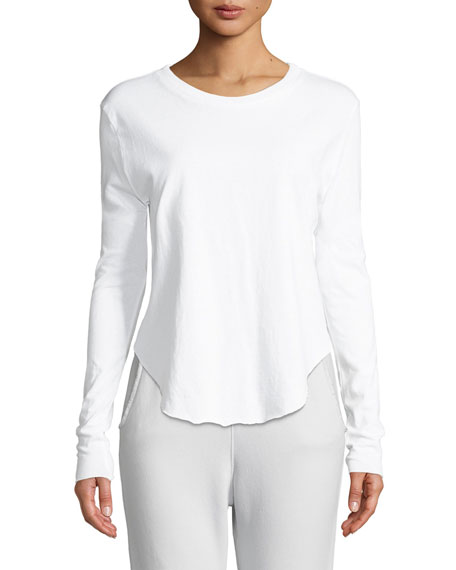 Long-Sleeve Cotton Crewneck Shirttail Tee in White