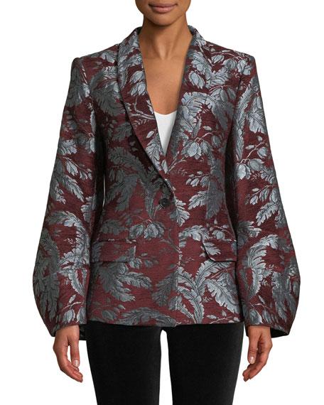 Courtney Jacquard Single-Button Jacket w/ Fox Fur Collar