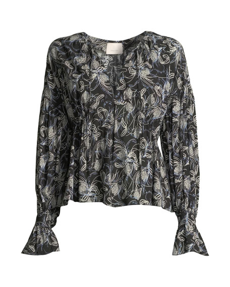 Floral Vines Printed V-neck Top