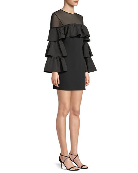 Valentina Ruffle Long-Sleeve Cocktail Dress