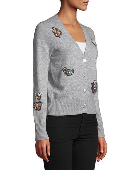 Daphne Embellished Button-Front Cardigan