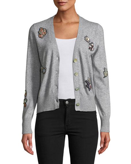 cinq a sept Daphne Embellished Button-Front Cardigan