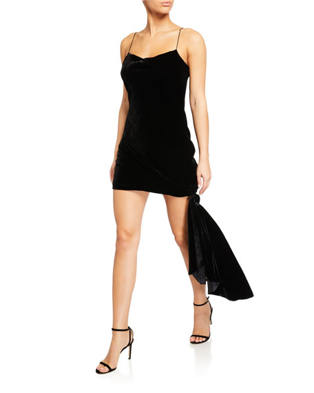 cinq a sept Ryder Velvet Draped Mini Dress