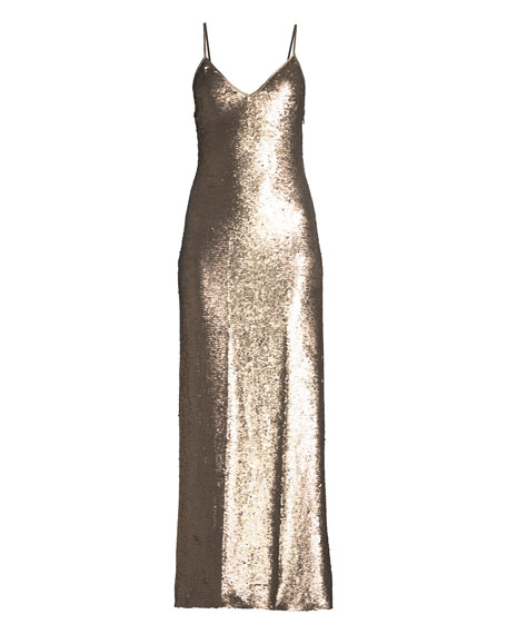 Emmalyn Sleeveless Sequin Column Gown Dress