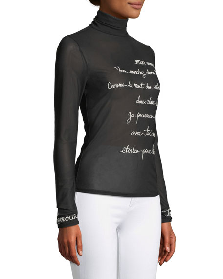 Cherice Embroidered Graphic Turtleneck Top