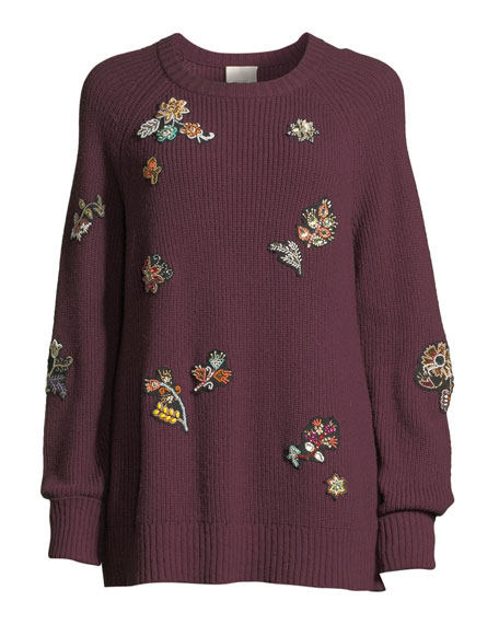 Tania Embroidered Scoop-Neck Sweater