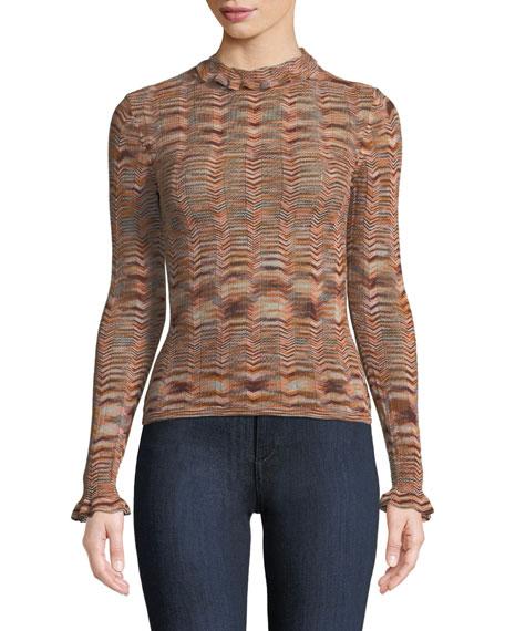 Eliana Wavy Striped Long-Sleeve Top