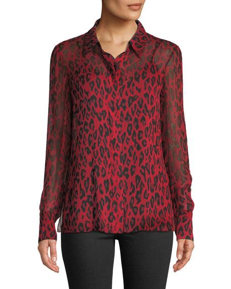 Leopard-Print Silk Chiffon Button-Front Blouse