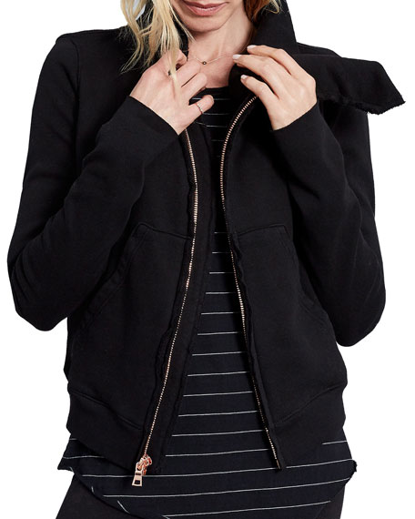 Frank & Eileen Asymmetrical Zip Fleece Jacket, Black