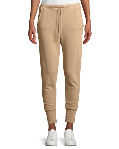 Cotton Fleece Jogger Sweatpants, Beige