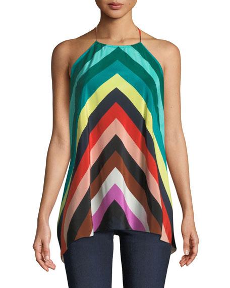 Strappy Striped Silk Halter Scarf Blouse