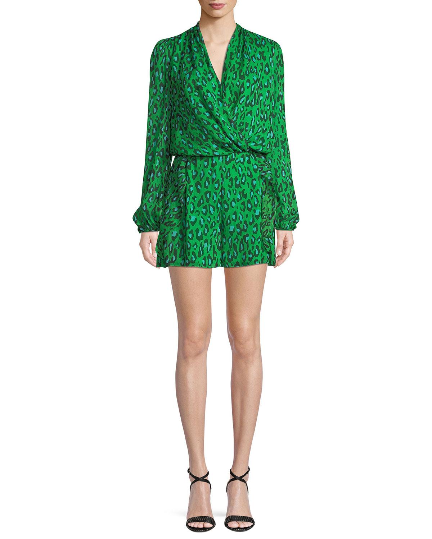 86ea4fa593f Diane von Furstenberg Leopard-Print Silk Chiffon Long-Sleeve Romper ...