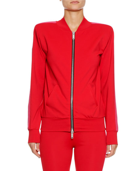 Boxy Zip-Front Side-Stripe Track Jacket