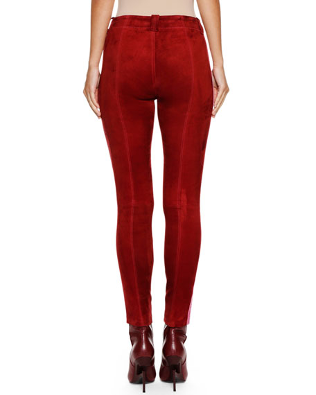 Lace-Up Side-Stripe Suede Football Pants