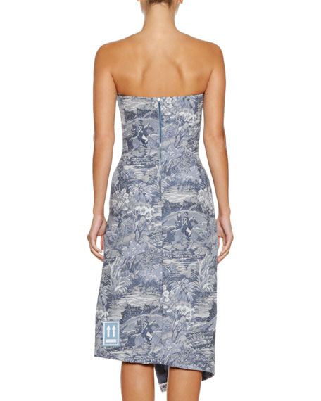 Tapestry Strapless Side-Split Midi Dress