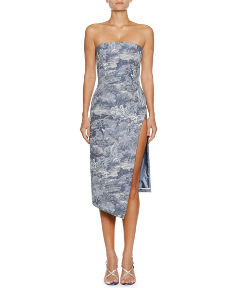 Tapestry Strapless Side-Split Midi Dress