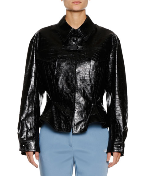 Embossed Crocodile Peplum Leather Jacket