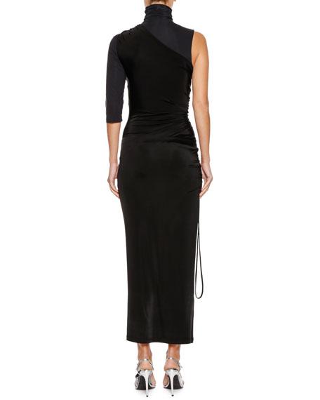 Ruched One-Shoulder Turtleneck Maxi Dress