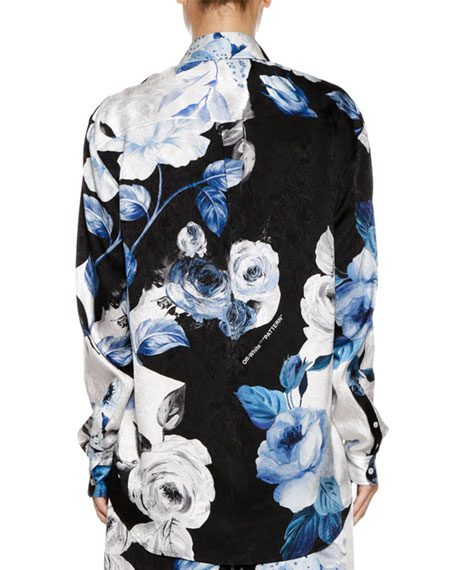 Floral-Print Silk Button-Front Blouse