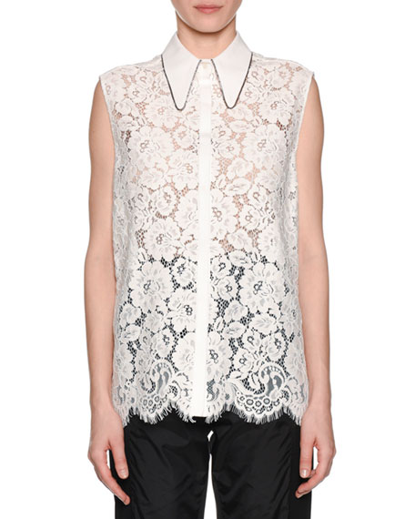 No. 21 Collared Button-Front Lace Tank