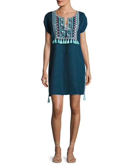 Seafolly Embroidered Coverup Linen Dress W/ Tassels