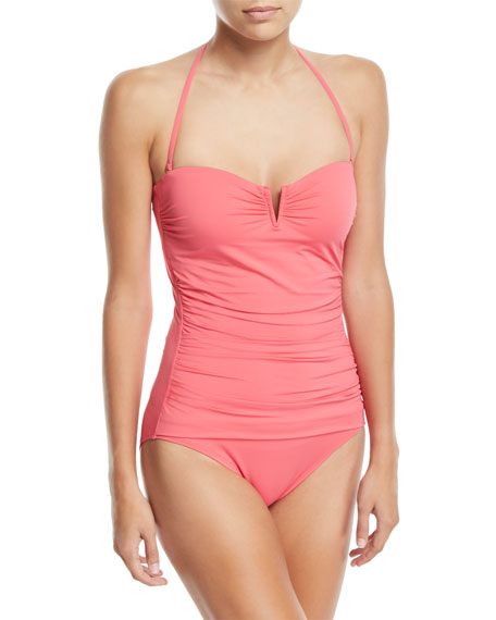 Pearl Solids V-Wire Shirred Bandeau One-Piece Swimsuit