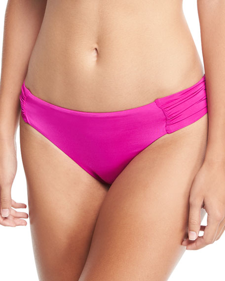 Shirred-Sides Solid Swim Bikini Bottoms