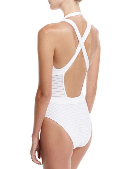 Parallels Crisscross Halter One-Piece Swimsuit