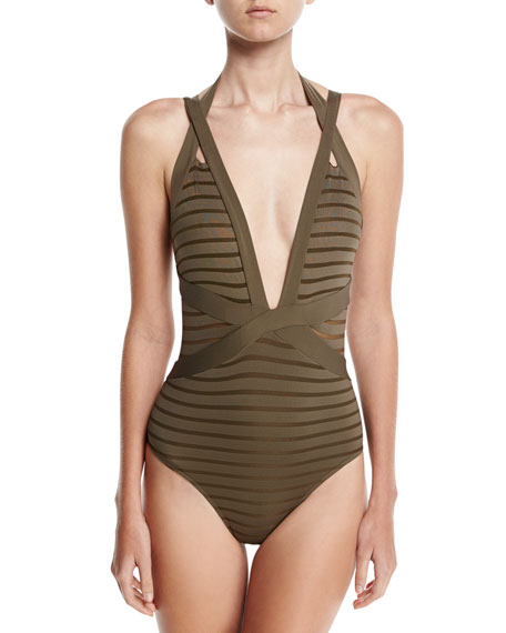 JETS by Jessika Allen Parallels Crisscross Halter One-Piece