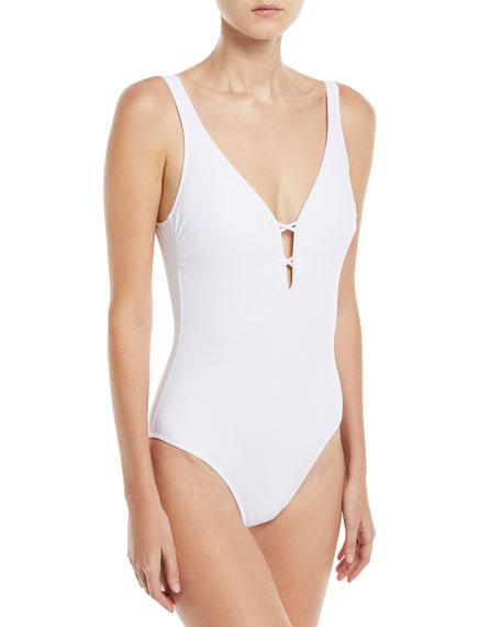 Java V-Neck Macrame Back One-Piece Swimsuit