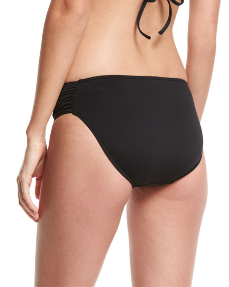 Ruched-Side Retro Swim Bikini Bottom