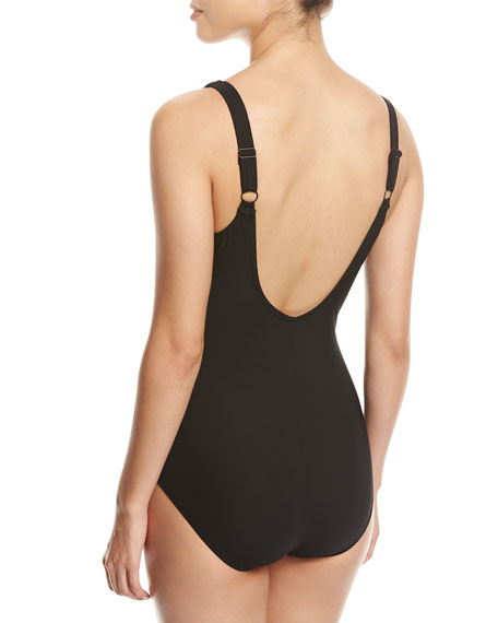 Embrace Surplice Striped One-Piece Swimsuit