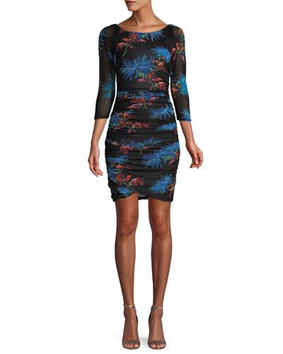 Ruched Floral-Print 3/4-Sleeve Short Dress