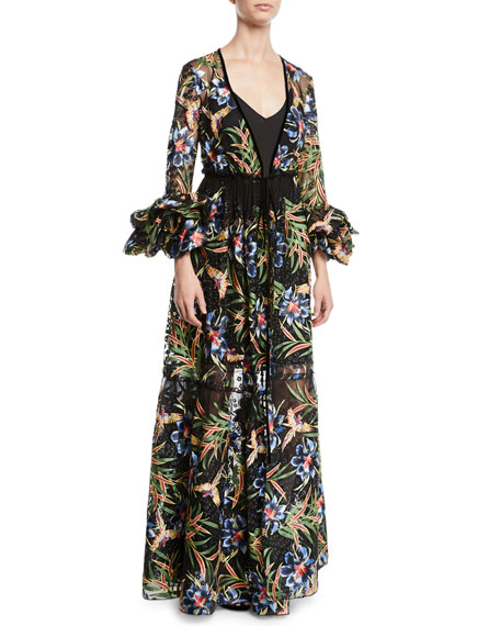 Diane von Furstenberg Puff-Sleeve Floral Maxi Wrap Dress