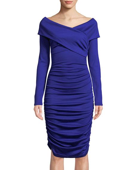 Ruched Off-Shoulder Long-Sleeve Dress