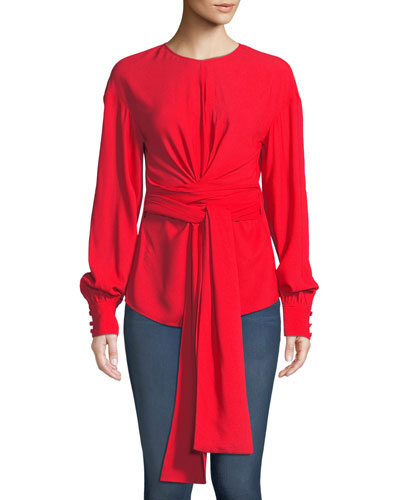 Long-Sleeve Crepe Wrap Blouse