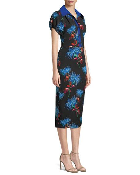 Elly Floral Short-Sleeve Midi Polo Dress