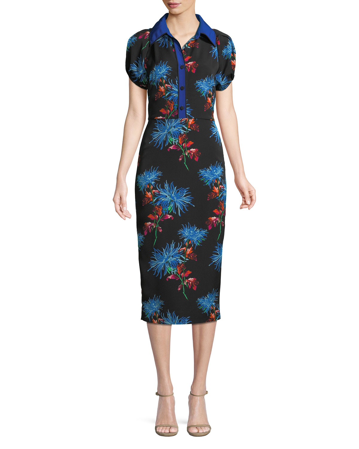 cd56b2ad968 Diane von Furstenberg Elly Floral Short-Sleeve Midi Polo Dress ...