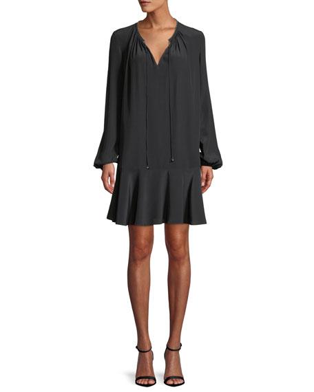 Diane von Furstenberg Cinched-Sleeve Silk Keyhole Flounce Dress