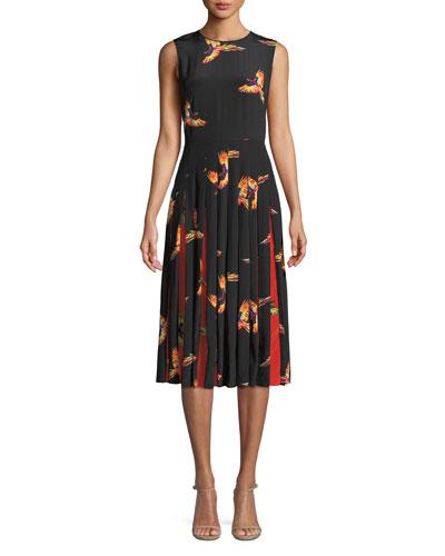 Talita Bird-Print Silk Pleated Sleeveless Dress
