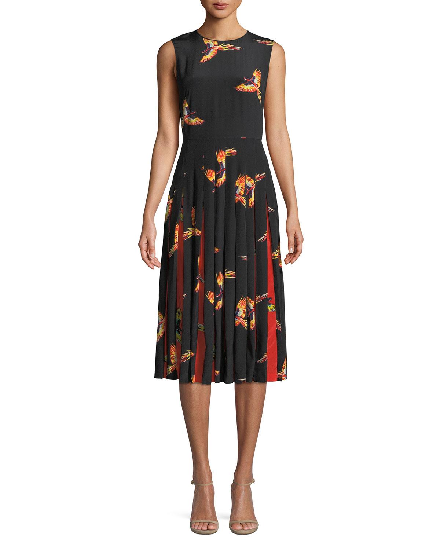 2c1f736bee6460 Diane von FurstenbergTalita Bird-Print Silk Pleated Sleeveless Dress